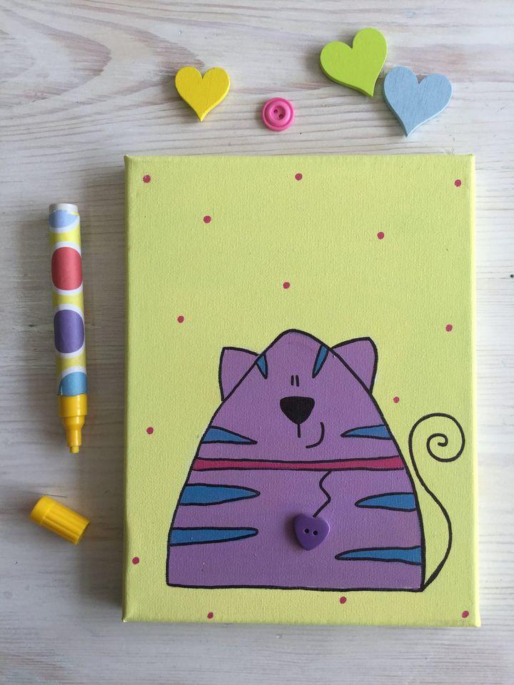 Quadrotto Gattino panna/lilla