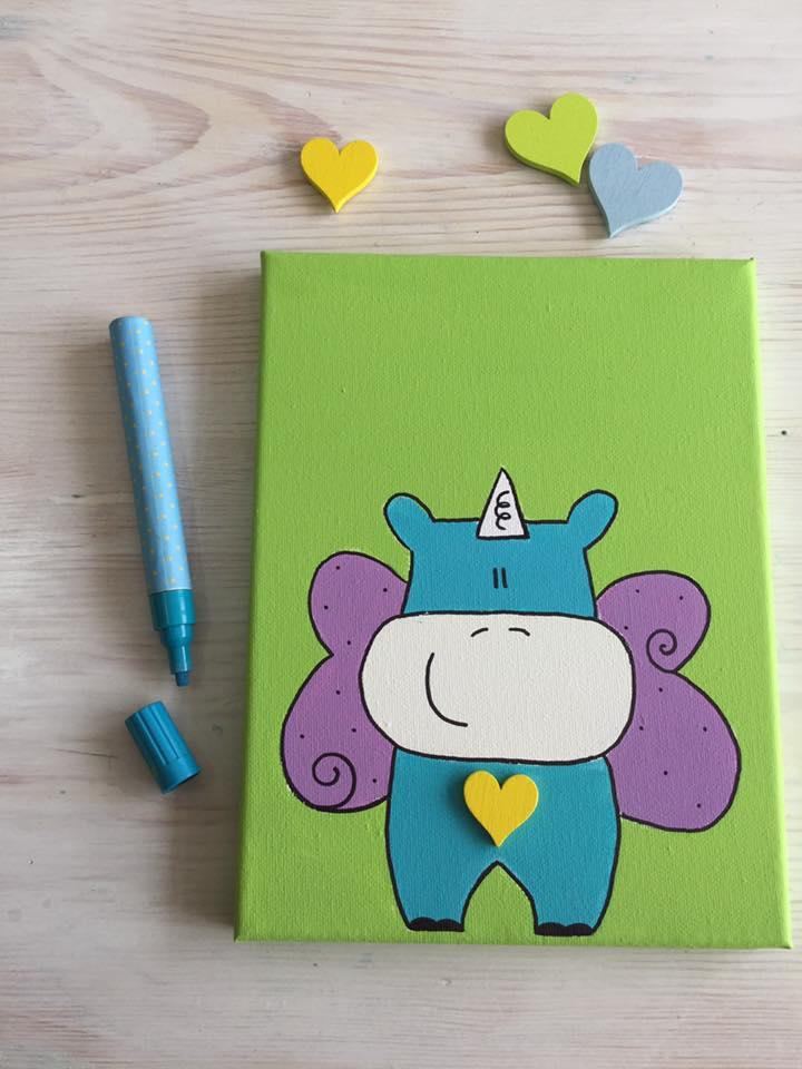 Quadrotto Unicorno verde/azzurro/lilla