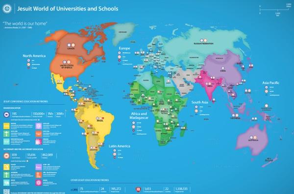 Istituzioni educative gesuite, una Mappa globale