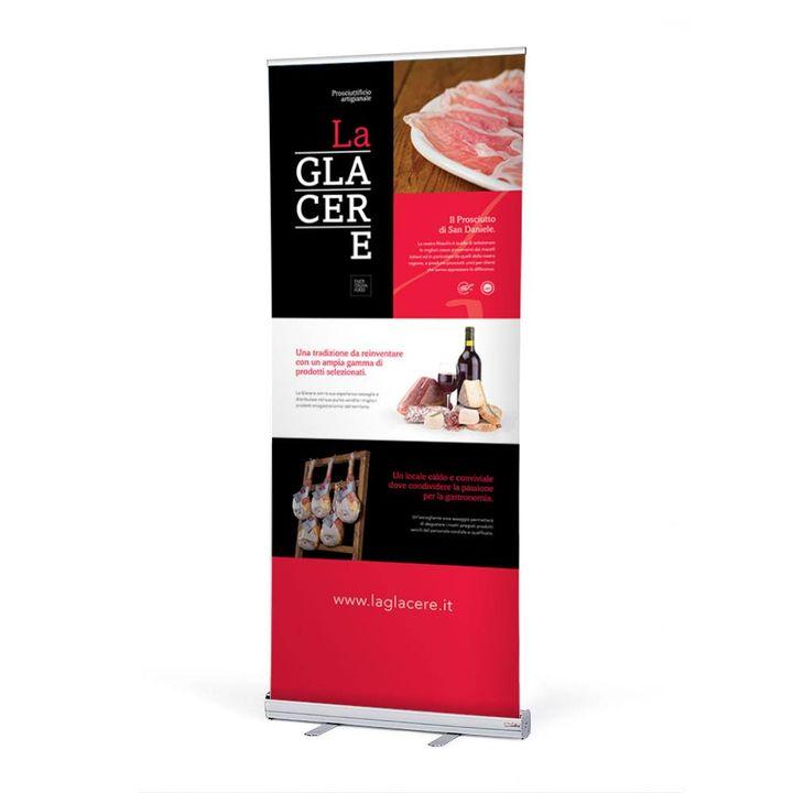"""Rollup pubblicitario per prosciuttificio artigianale """"La Glacere"""" di San Daniele del Friuli."""